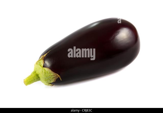 Single fresh organic aubergine on a white background - Stock Image