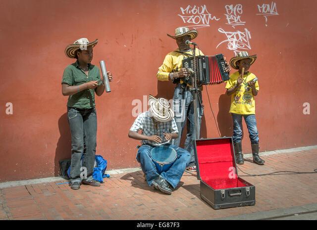 BOGOTA, COLOMBIA - November, 21: Family of street musicians, 21, 2009 in Bogota, Colombia - Stock Image