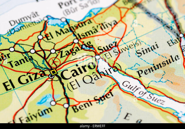 Close up map of Cairo, capital city of Egypt - Stock Image