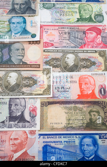 Assorted foreign currency bank notes - Stock Image