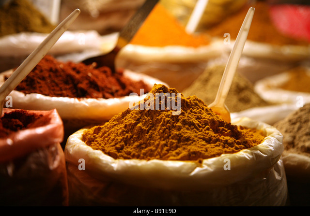 Local spices on display at the saturday night market at Baga in Goa, India - Stock-Bilder