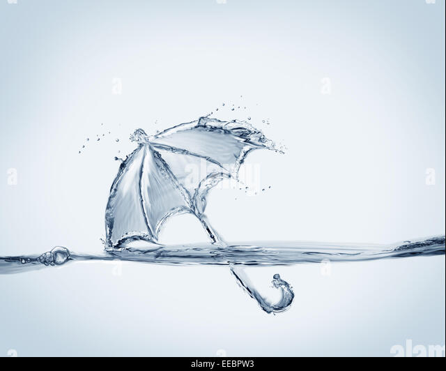 A blue umbrella made of water. - Stock Image