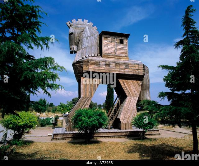 Trojan Horse from ancient mythology in Troy Turkey - Stock Image