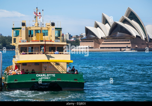 Sydney Australia NSW New South Wales Harbour Bridge harbor Opera House Sydney Ferries ferry boat public transportation - Stock Image