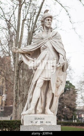 Madrid, Spain - february 26, 2017: Sculpture of Euric King at Plaza de Oriente, Madrid. He ruled as king of the - Stock Image