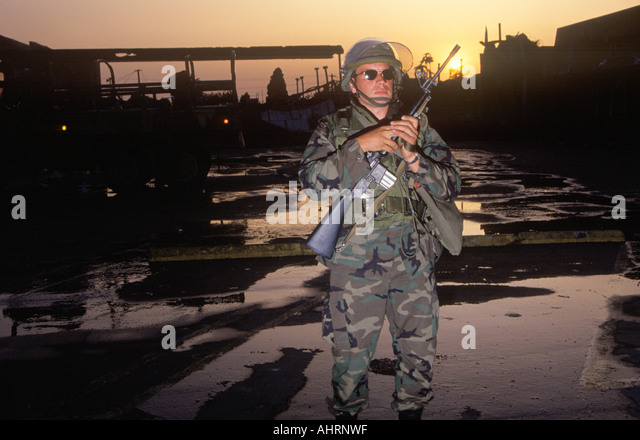 National Guardsman patrolling after 1992 riots South Central Los Angeles California - Stock Image