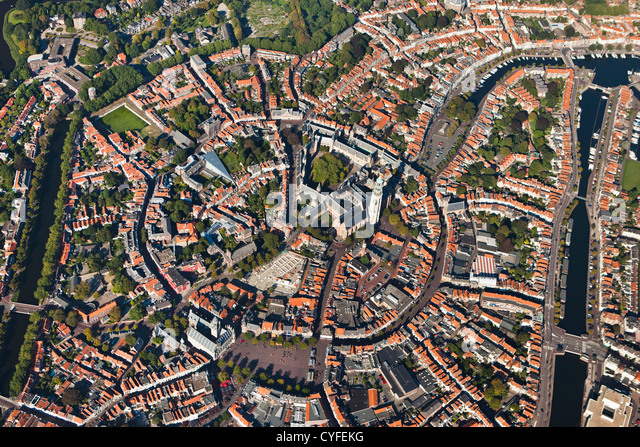 The Netherlands, Middelburg, City center. Aerial. - Stock Image