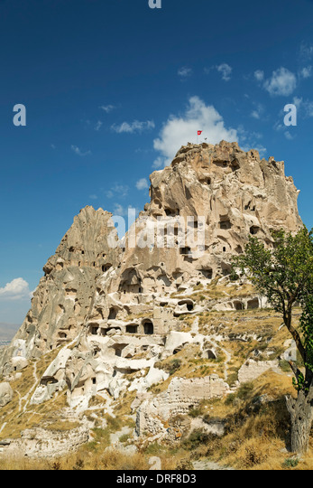 Fairy chimney and The Castle, Uchisar, Cappadocia, Turkey - Stock Image
