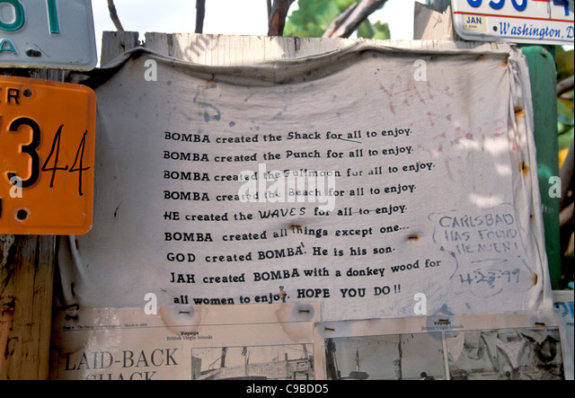 Bomba Shack, Tortola, Bomba manifesto explaining who Bomba is - Stock Image