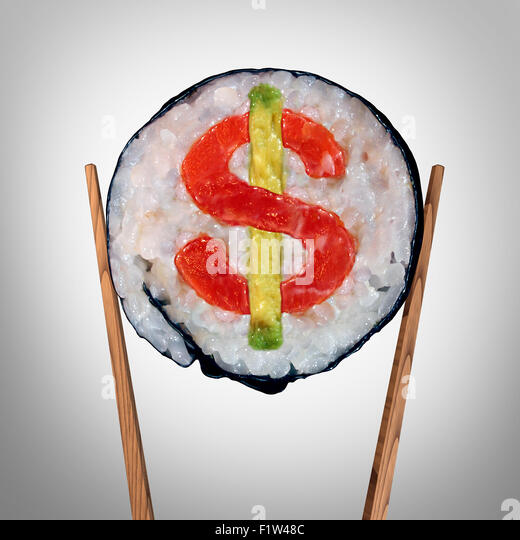 Restaurant business and Expensive huge food bill symbol or overpriced dining price tag as a piece of fresh sushi - Stock Image