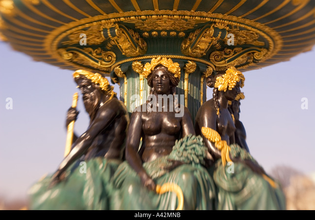 Paris France Place de la Concorde fountain sculptures - Stock Image
