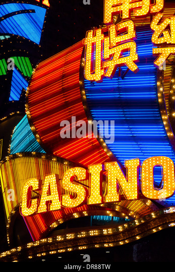 Casino neon signs, Macau, China - Stock Image