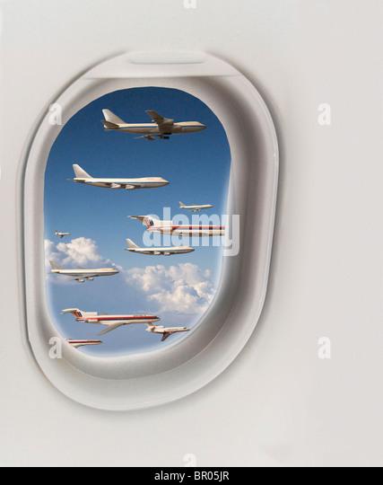 Many Airplanes viewed outside cabin window - Stock-Bilder