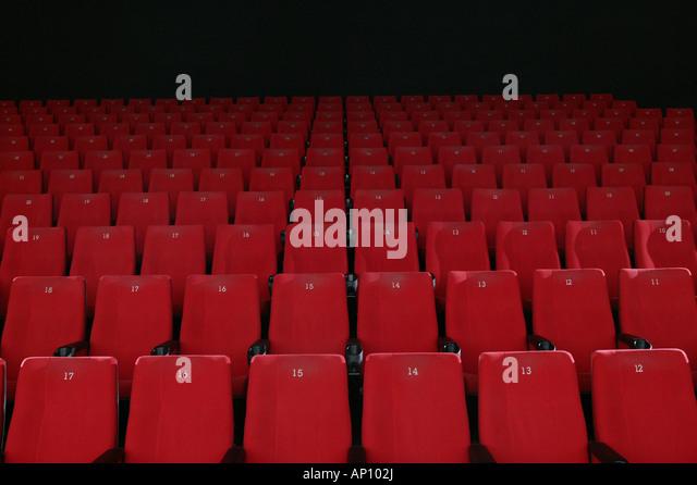 Rows of empty red cinema seats, Garmisch-Partenkirchen, Bavaria, Germany - Stock Image