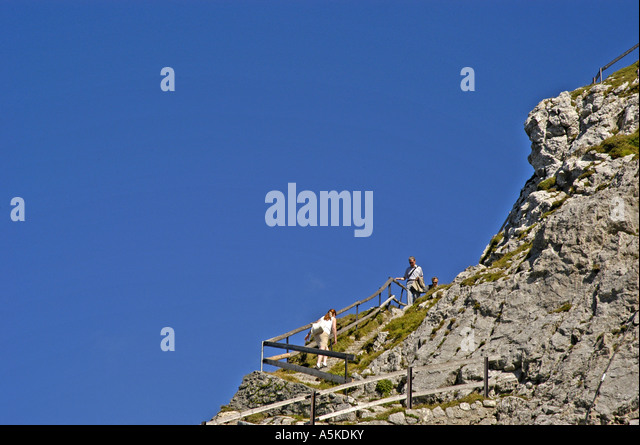 Lucerne Switzerland steep walking trail and stairs atop Mount Pilatus - Stock Image