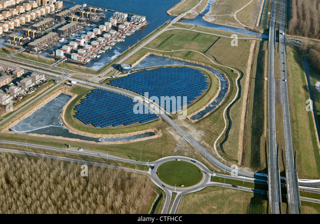 The Netherlands, Almere, NUON Solar island. Solar panels. Aerial. - Stock Image