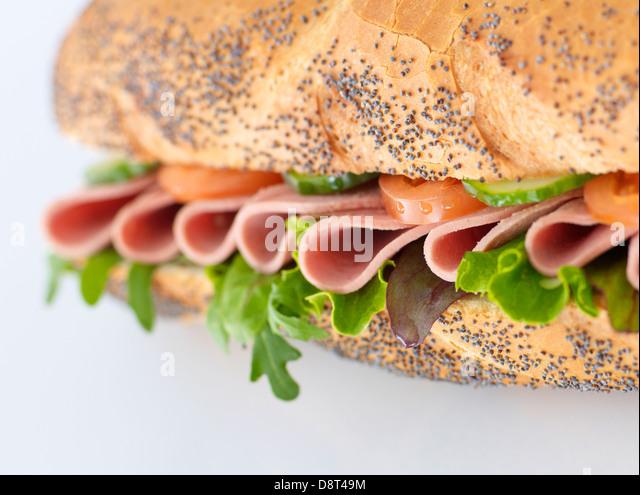 Ham salad baguette - Stock Image