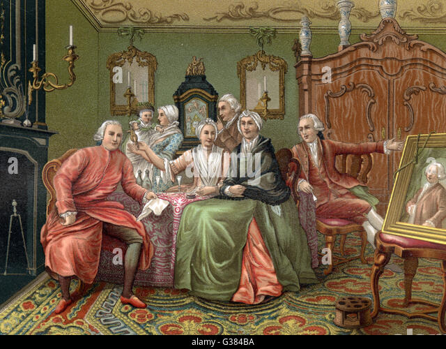 An English bourgeois home          Date: mid 18th century - Stock Image