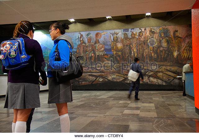 Mexico City Mexico DF D.F. Distrito Federal Metro subway STC mass transit public transportation Tacubaya Station - Stock Image
