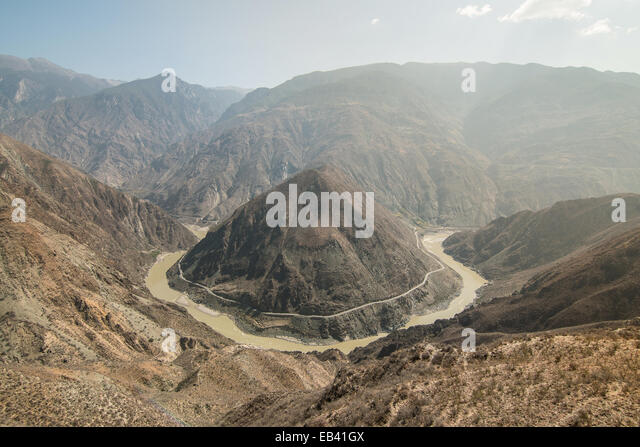 the Omega Bend of Yangtze River, Yunnan Province, China - Stock Image