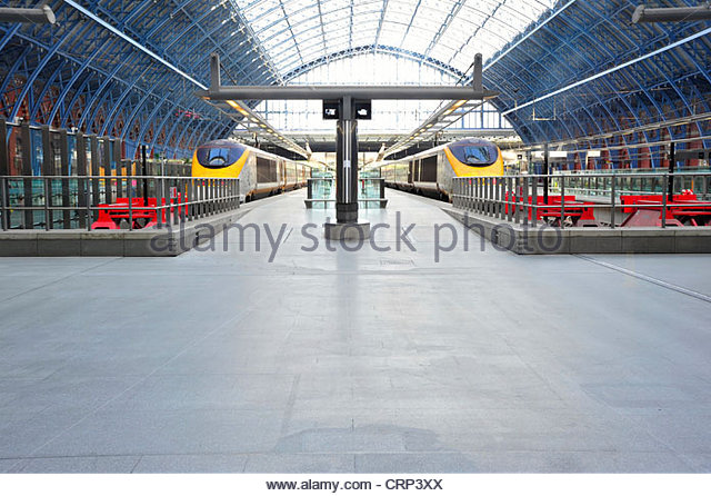 Eurostar trains in St Pancras International. - Stock Image