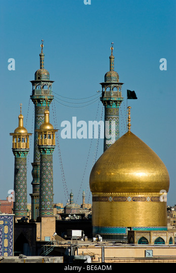 View of the Fatima al-Masumeh Shrine, Qom, Iran - Stock Image