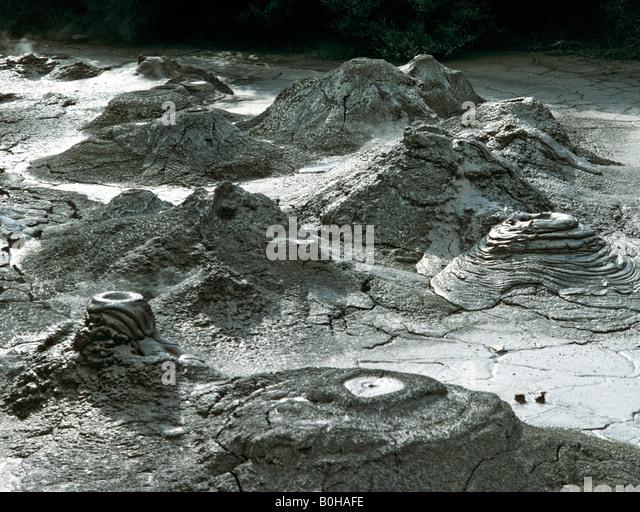 Mud volcano near the Pohutu Geyser, Whakarewarewa geothermal area, Rotorua, North Island, New Zealand - Stock-Bilder