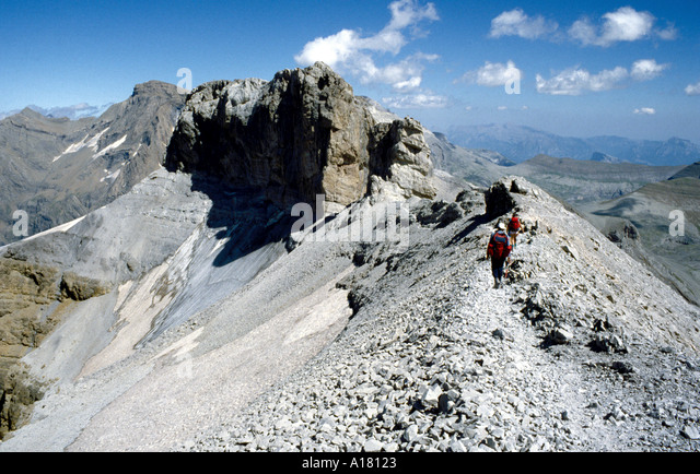 On the ridge approaching Le Doigt, Pyrenees.  On the frontier ridge between France and Spain - Stock Image