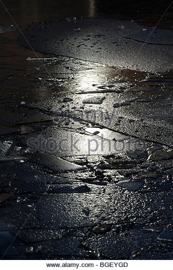 Frozen canal water - Stock Image