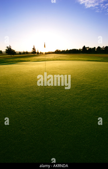 Golf green at sunrise - Stock Image