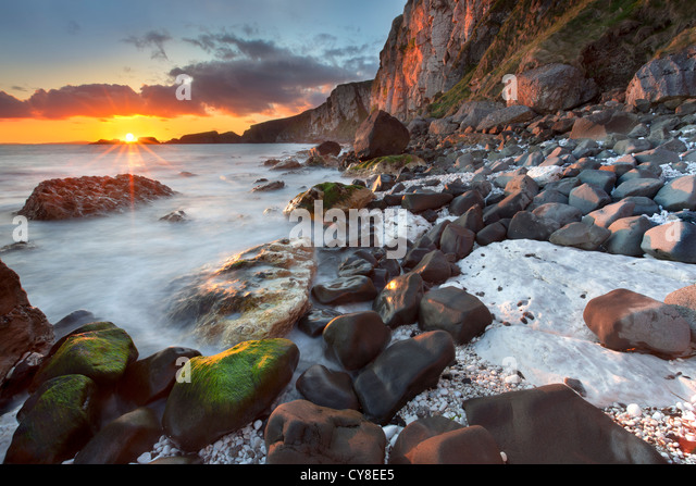 Larrybane on the antrim coast captured at sunrise. Northern Ireland. - Stock Image
