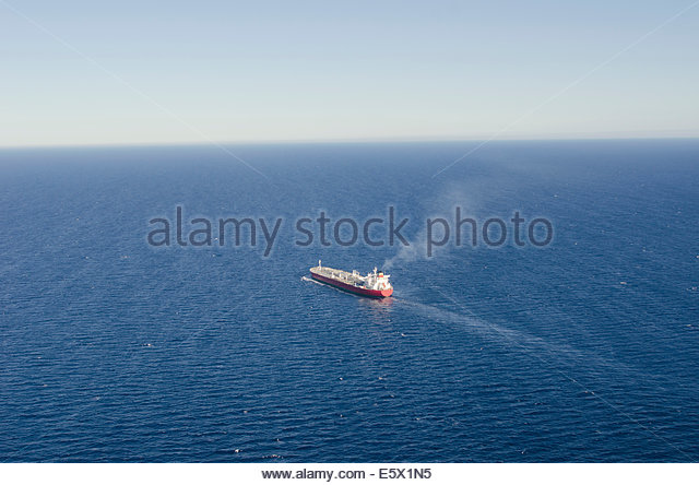 Aerial view of oil tanker (ULCC - Ultra Large Crude Carrier) at sea - Stock Image