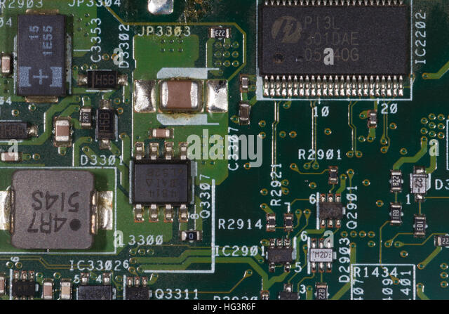 computer board with soldered components - Stock Image