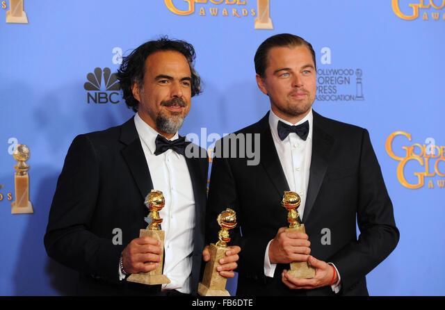 Beverly Hills, CA, USA. 10th Jan, 2016. Director Alejandro Gonzalez Inarritu, left, winner of Best Motion Picture - Stock Image