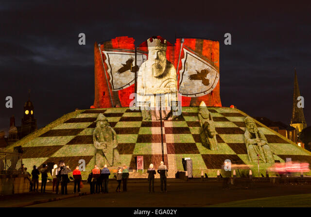 Illuminate York 2013 at Clifford's Tower and The Museum Gardens. - Stock Image