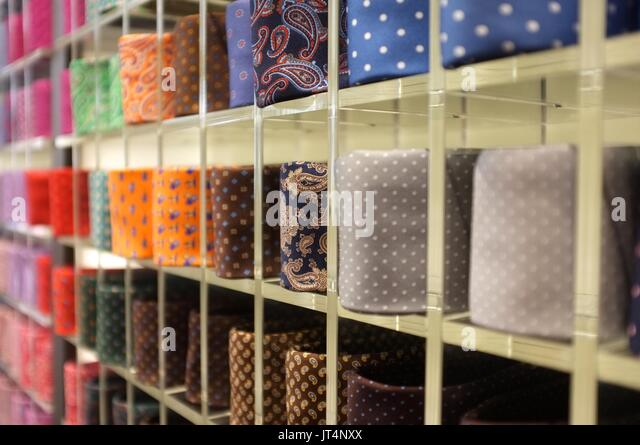 Italian ties at a shop in Galleria Vittorio Emanuele II, Milan, Lombardy, Italy, July 2017 - Stock Image