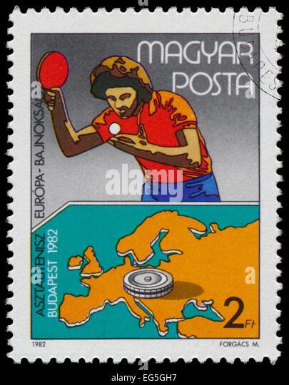 HUNGARY - CIRCA 1982: stamp printed HUNGARY, Table Tennis European Championships, Budapest , circa 1982 - Stock Image