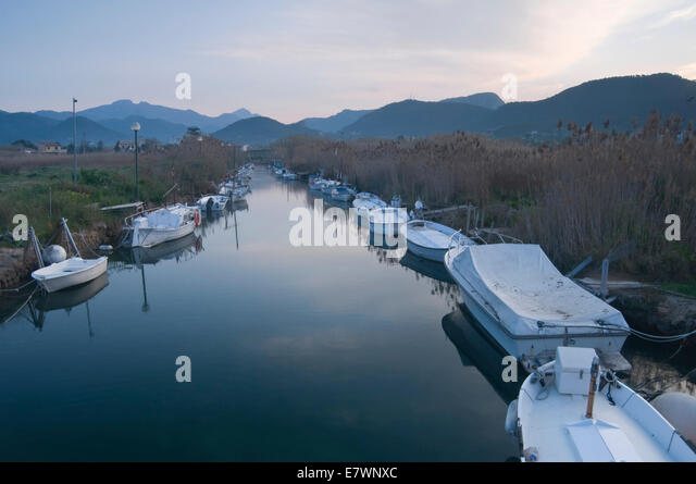 Boats, Torrent d'en Salvel, Port d'Andratx, Majorca, Balearic Islands, Spain - Stock Image