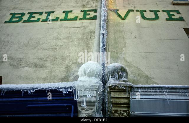 frozen overflows on building in Malvern - Stock Image