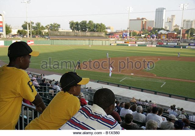 Arkansas North Little Rock Dickey Stephens Park minor league baseball Arkansas Travelers Black boy stadium ballpark - Stock Image