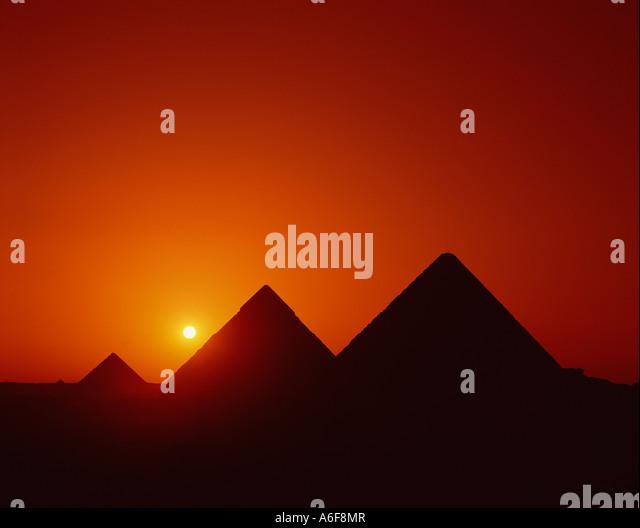 Egypt Cairo Giza The Great Pyramids Sunset - Stock Image