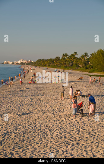 Naples Municipal Beach Naples Florida fl winter december warm christmas vacation - Stock Image