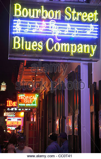 New Orleans Louisiana French Quarter Bourbon Street Bourbon Street Blues Company bar nightclub business nightlife - Stock Image