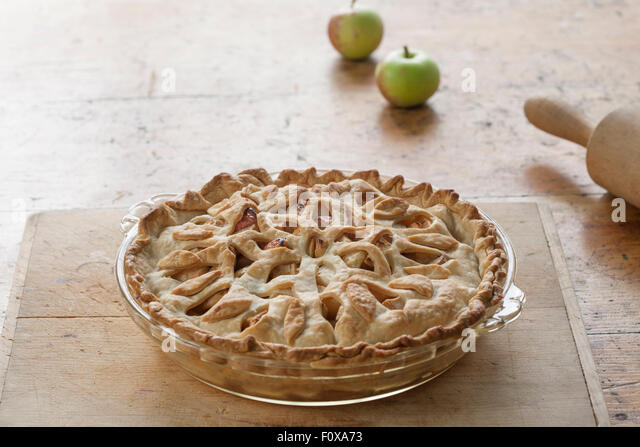 beautiful apple pie with floral lattice - Stock Image