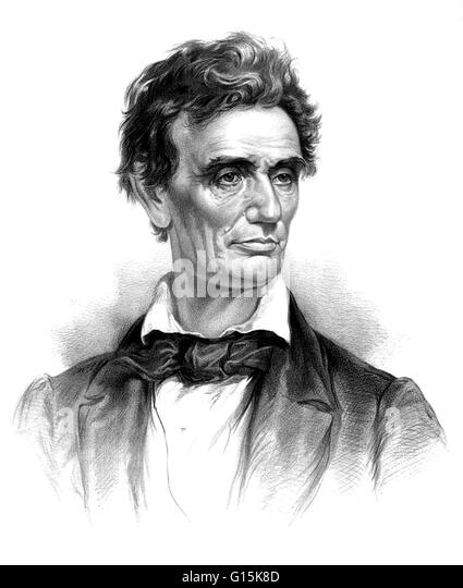 Abraham Lincoln (February 12, 1809 - April 15, 1865) was the 16th President of the United States, from March 1861 - Stock Image