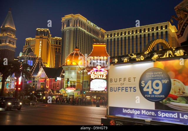 Nevada Las Vegas The Strip South Las Vegas Boulevard McDonald's fast food restaurant The Venetian Casino Royale - Stock Image