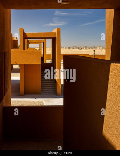 Elevated view from stairway landing. Laayoune Technology School, Laayoune, Morocco. Architect: Saad El Kabbaj, Driss - Stock-Bilder