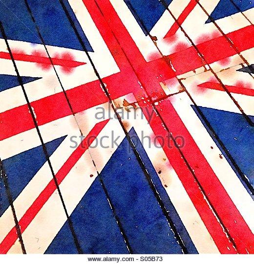 UK Union Jack flag with watercolour effect - Stock Image