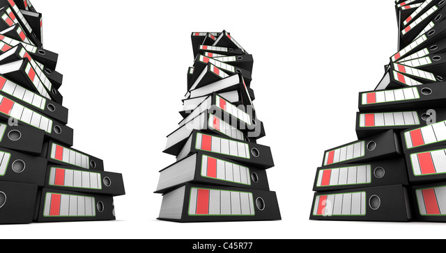 Three stacks of ring binders - Stock Image