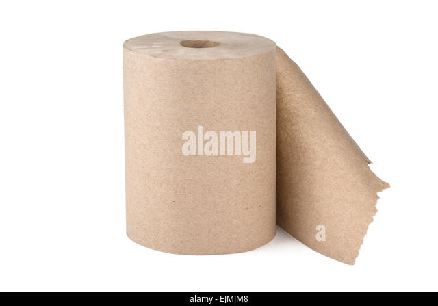 Roll of Brown Paper Towel Towels - Stock Image